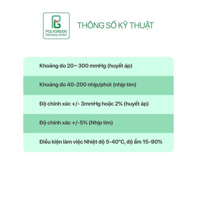 Máy đo huyết áp bắp tay Polygreen KP-7520 (cảnh báo Huyết áp cao) + Bộ nguồn