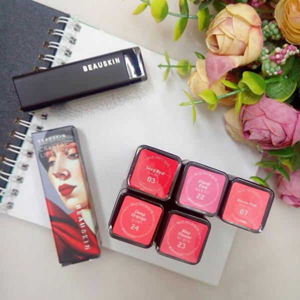 Son môi lâu trôi nhiều dưỡng Beauskin Crystal Lipstick 3.5g (#08 Hồng Tươi) và móc khóa