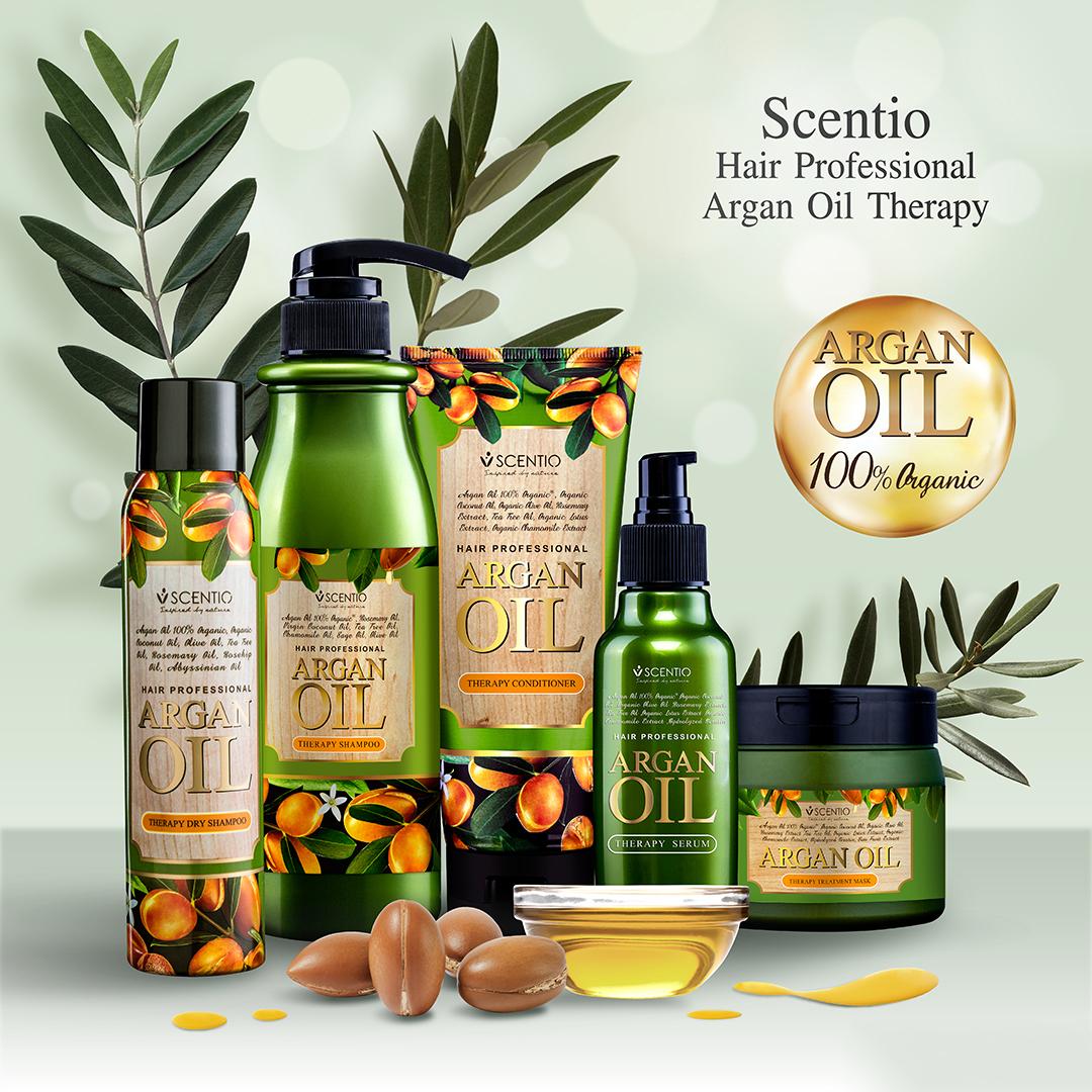 Combo Dầu gội và Dầu xả phục hồi tóc khô và hư tổn chiết xuất dầu Argan Scentio Hair Professional