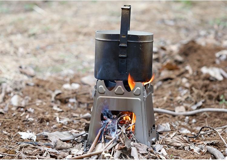 Bếp Củi Dã Ngoại Gấp Gọn Siêu Gọn Nhẹ Titanium và Stainless Steel 304