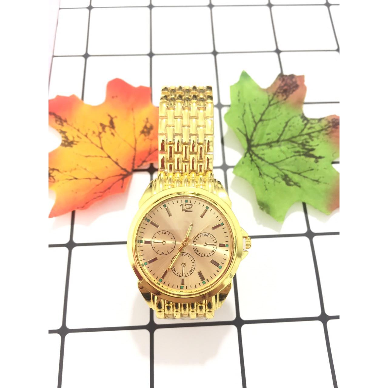 Đồng hồ đeo tay nam nữ unisex thời trang ZO59 dây màu vàng hợp kim sang trọng thời thượng