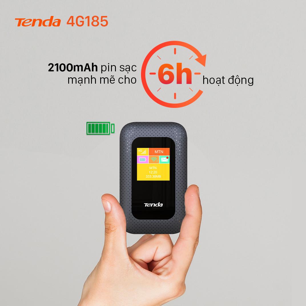 Bộ phát Wifi di động Tenda 4G LTE 4G185 - Hàng Chính Hãng