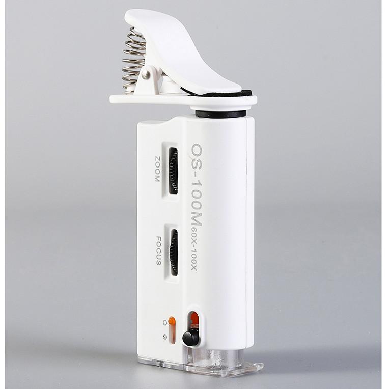 Kính lúp kẹp có đèn sáng trắng, đèn tím UV - tặng kèm đèn 4 led dán tường, dán ô tô