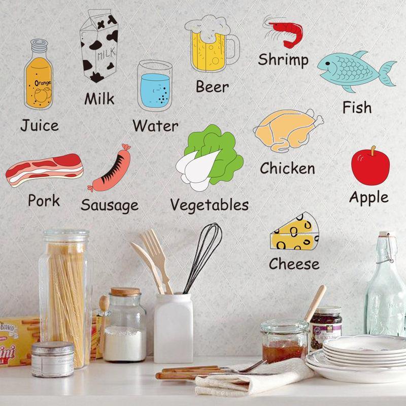 Decal dán tường cho bé về từ vựng tiếng anh các loại thực phẩm