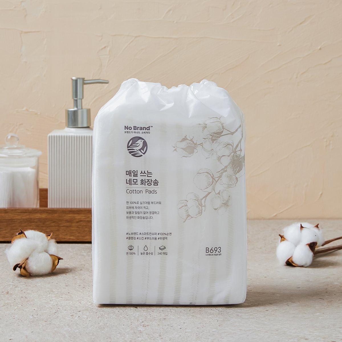 Bông Tẩy Trang Cotton No Brand 240 Miếng Chất Bông Mềm Mại Cho Làn Da Không Xù Lông Tiện Dụng Tiết Kiệm - Hàng Chính Hãng Emart VN