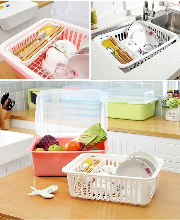Khay Úp Bát Nhựa PP Nhà Bếp Tiện Dụng cỡ L (Màu ngẫu nhiên)