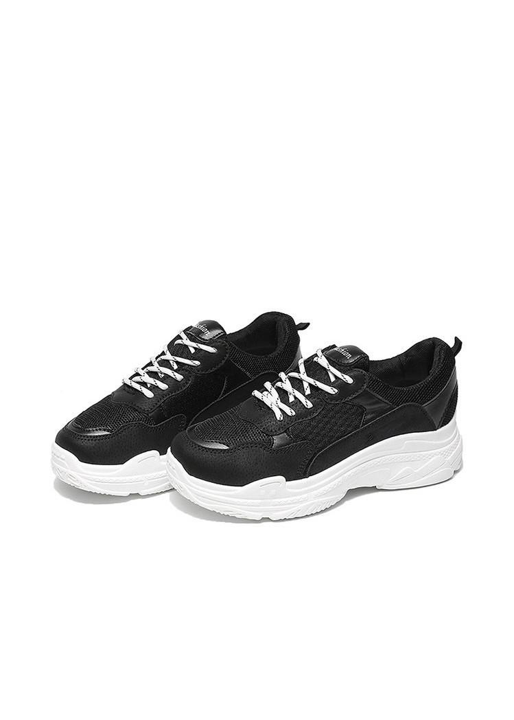 Giày sneakers nữ đế cao cá tính KJ1 - Đen - Size 38