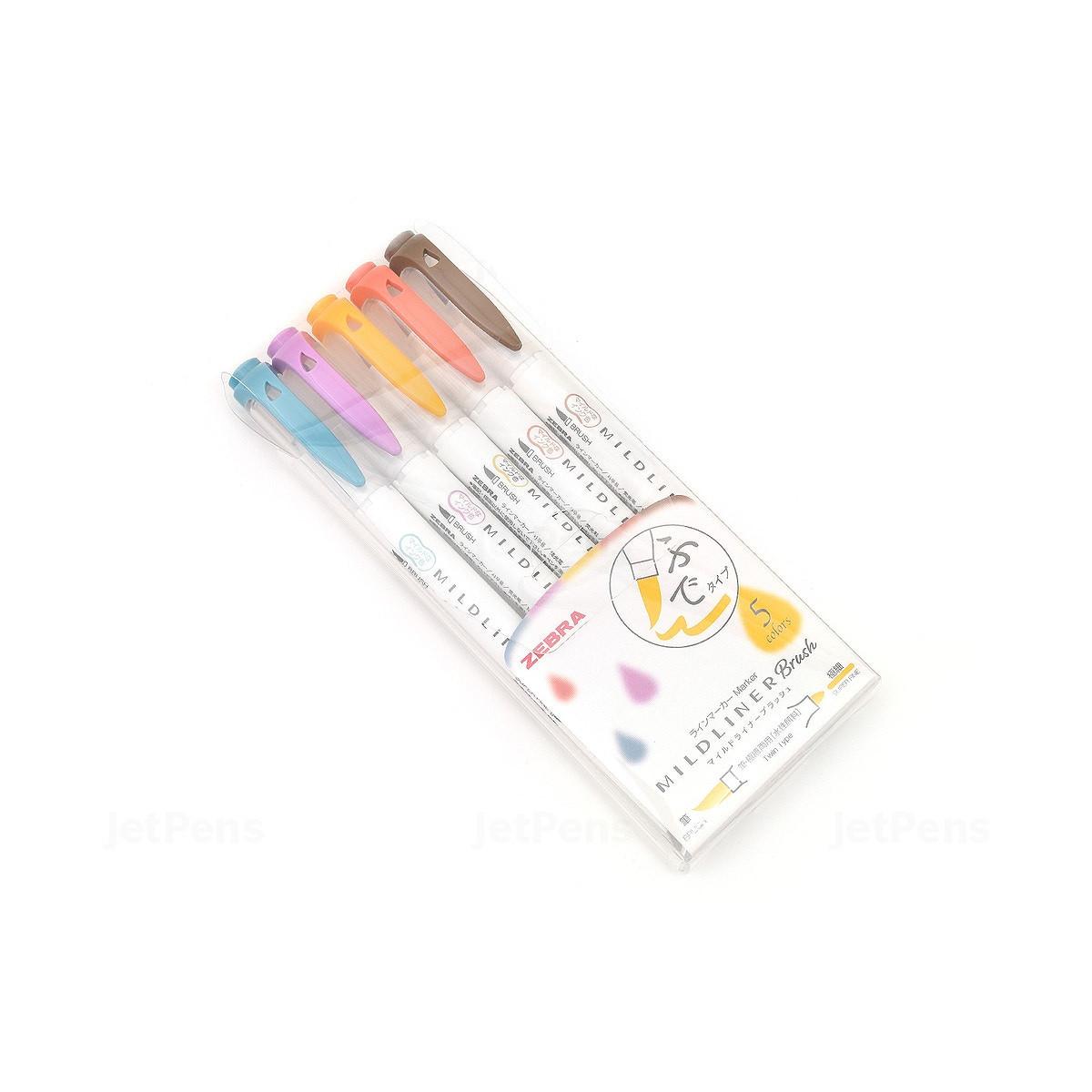 Bộ 5 bút lông đầu cọ hai đầu  Zebra Mildliner Double-Sided Highlighter Brush - Brush / Extra Fine - 5 Deep & Warm Color Set (Nhãn vàng)