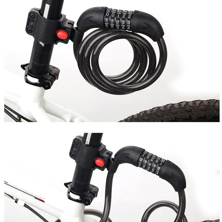 Khoá dây xe đạp có mã 5 số - Khoá đa năng