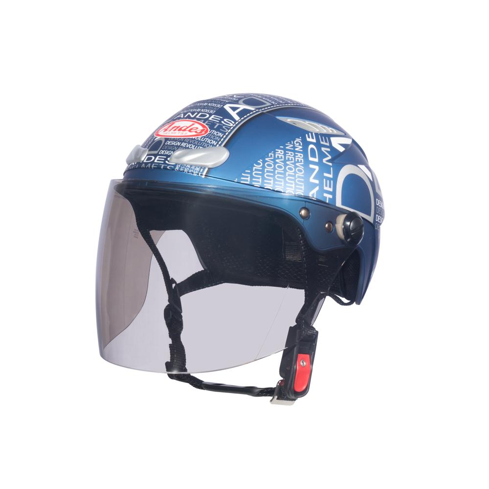 Mũ Bảo Hiểm Andes Nửa Đầu Có Kính - 3S126DB Tem Nhám W166