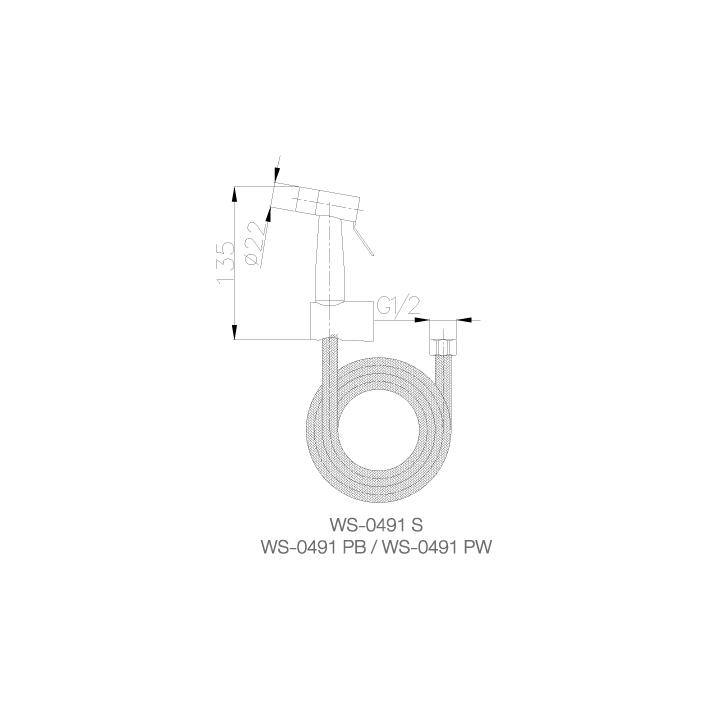 WS-0491PB - Vòi xịt rửa lạnh - kèm dây 1.2m - INOX SUS 304