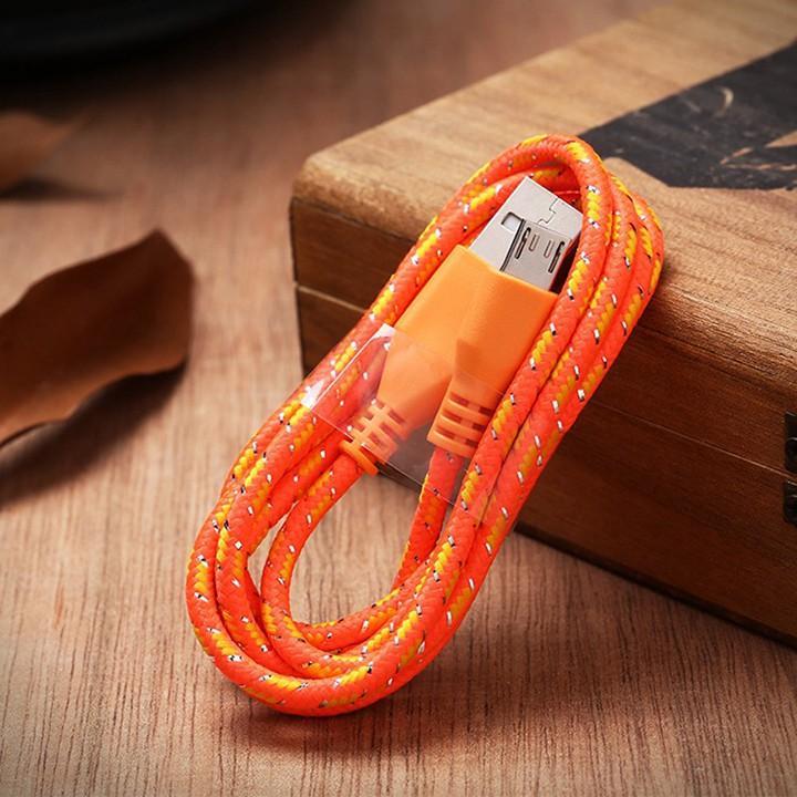 Cáp sạc dây dù dài 3M cho iphone samsung oppo…