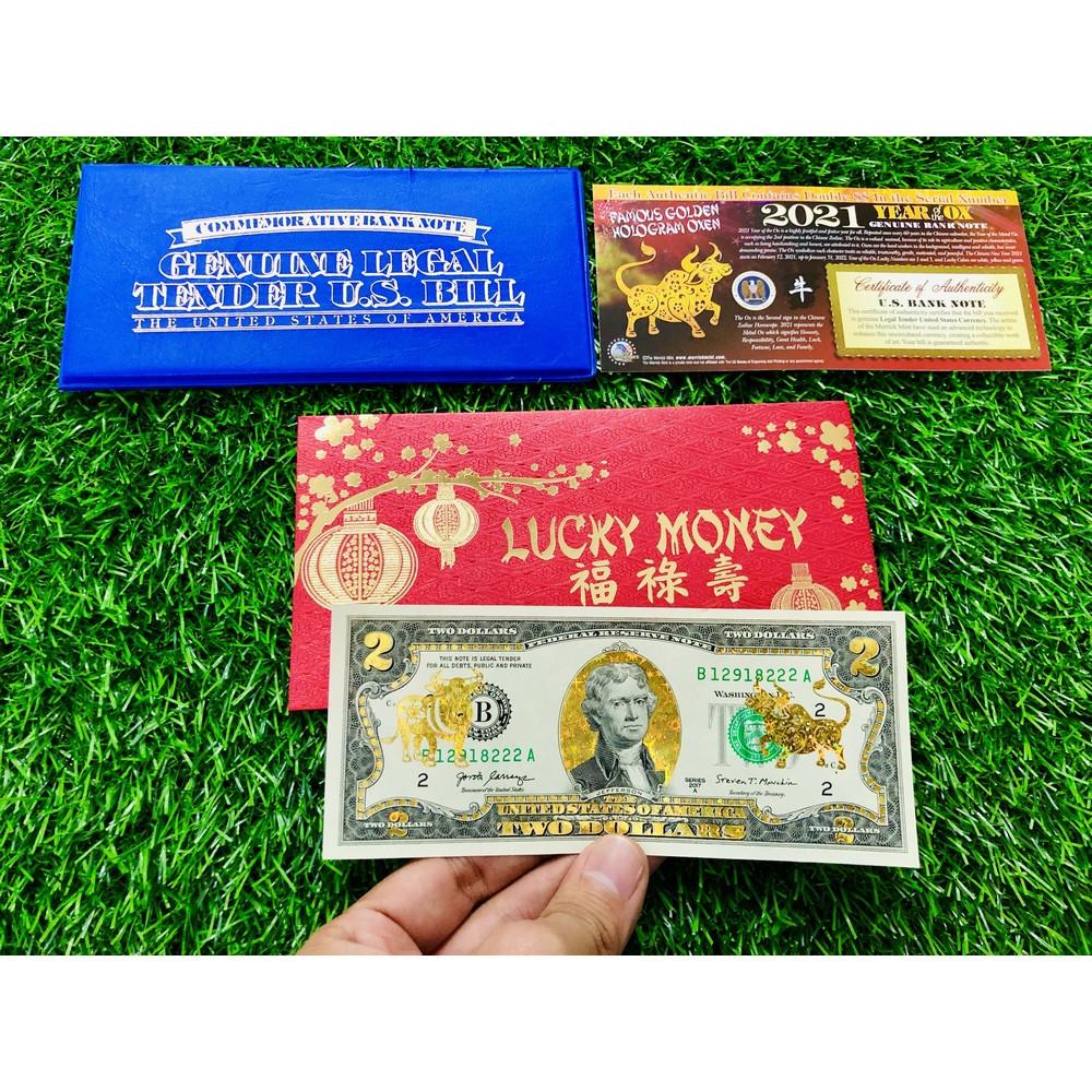 Bao Lì Xì Tiền 2 USD Hình Con Trâu Vàng 2021 Bao lì xì Lucky Money bao da xanh The Merrick Mint - bản không màu