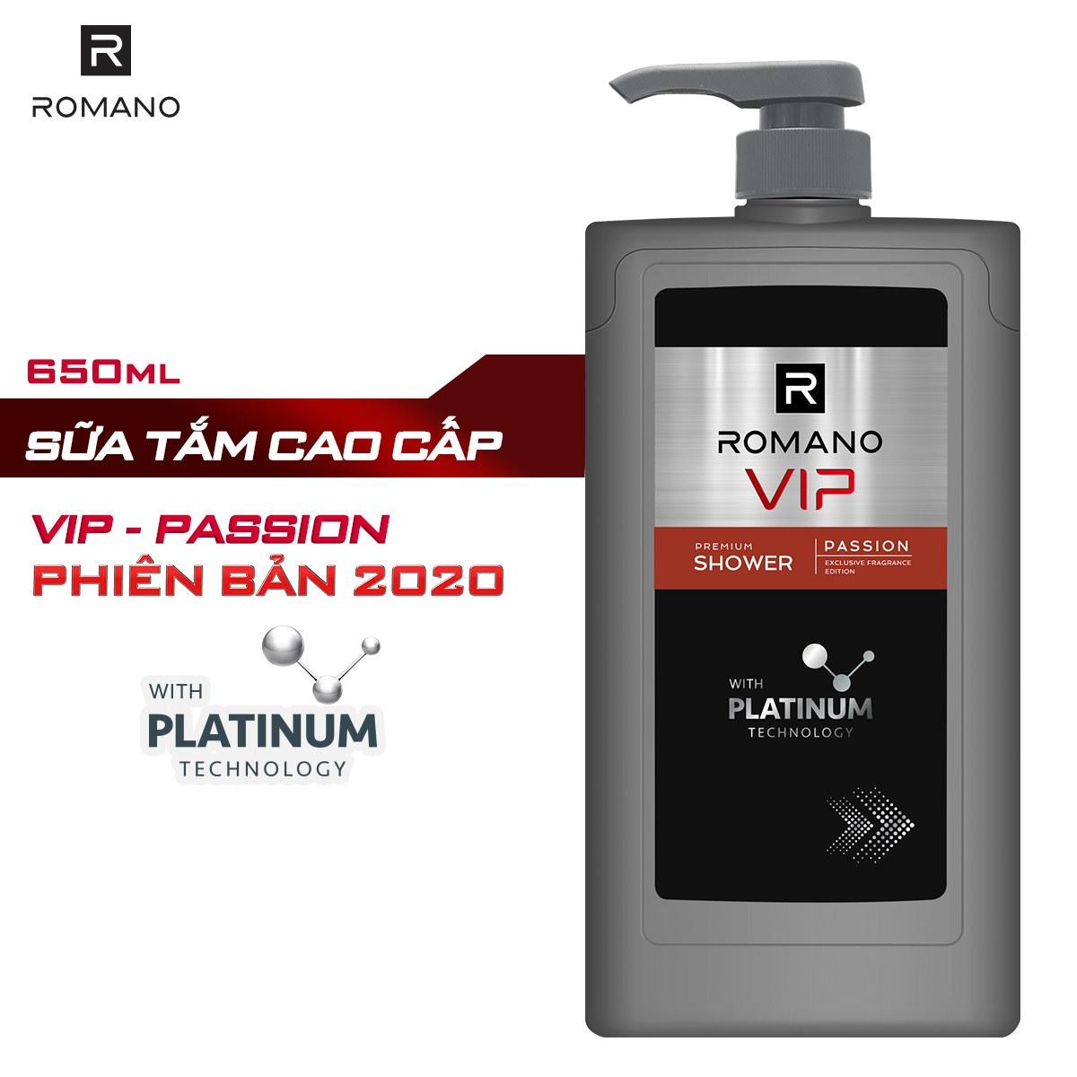 Sữa tắm cao cấp Romano Vip Passion mạnh mẽ bí ẩn 650g