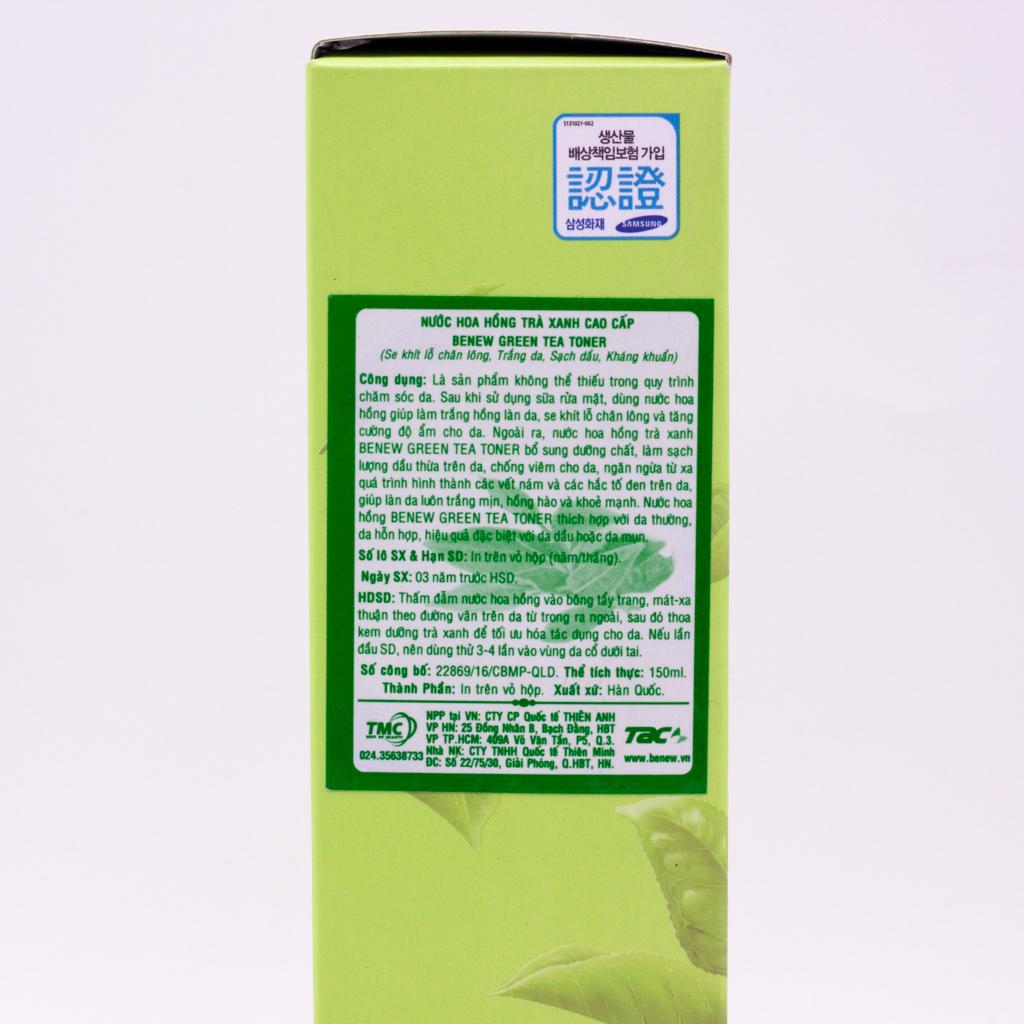 Nước hoa hồng trắng da trà xanh Benew Green Tea Whitening Natural Herb Skin Toner (150ml) – Hàng Chính Hãng