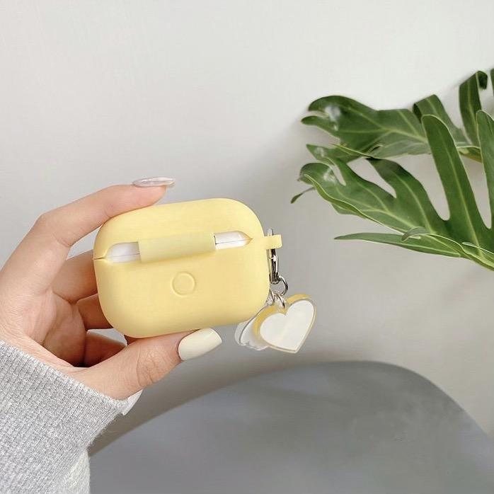 Ốp - Bao dành cho airpods pro màu vàng xinh xắn chống bẩn, kèm móc cún đáng yêu
