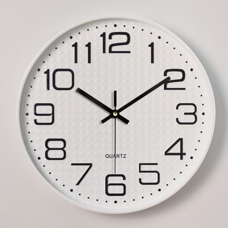 Đồng hồ treo tường tròn Quartz vân hình vuông 30cm