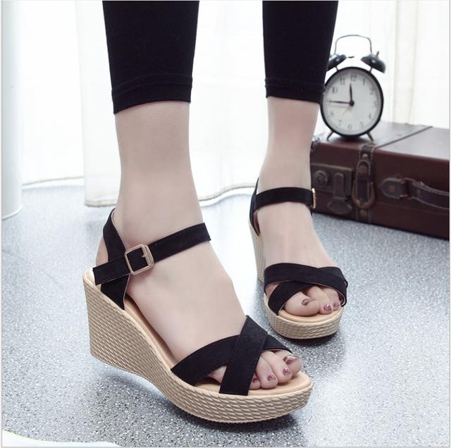 Sandal Đế XUỒNG 9cm 2 dây chéo đen