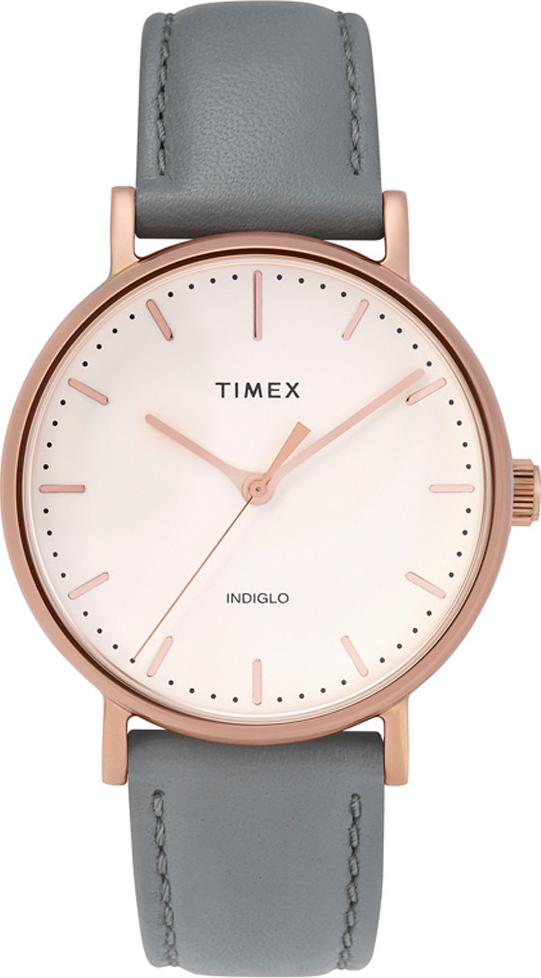 Đồng hồ Dây Da Nữ Timex Fairfield 37mm Rose Gold-tone Case Cream Dial Gray Leather Strap - TW2T31800