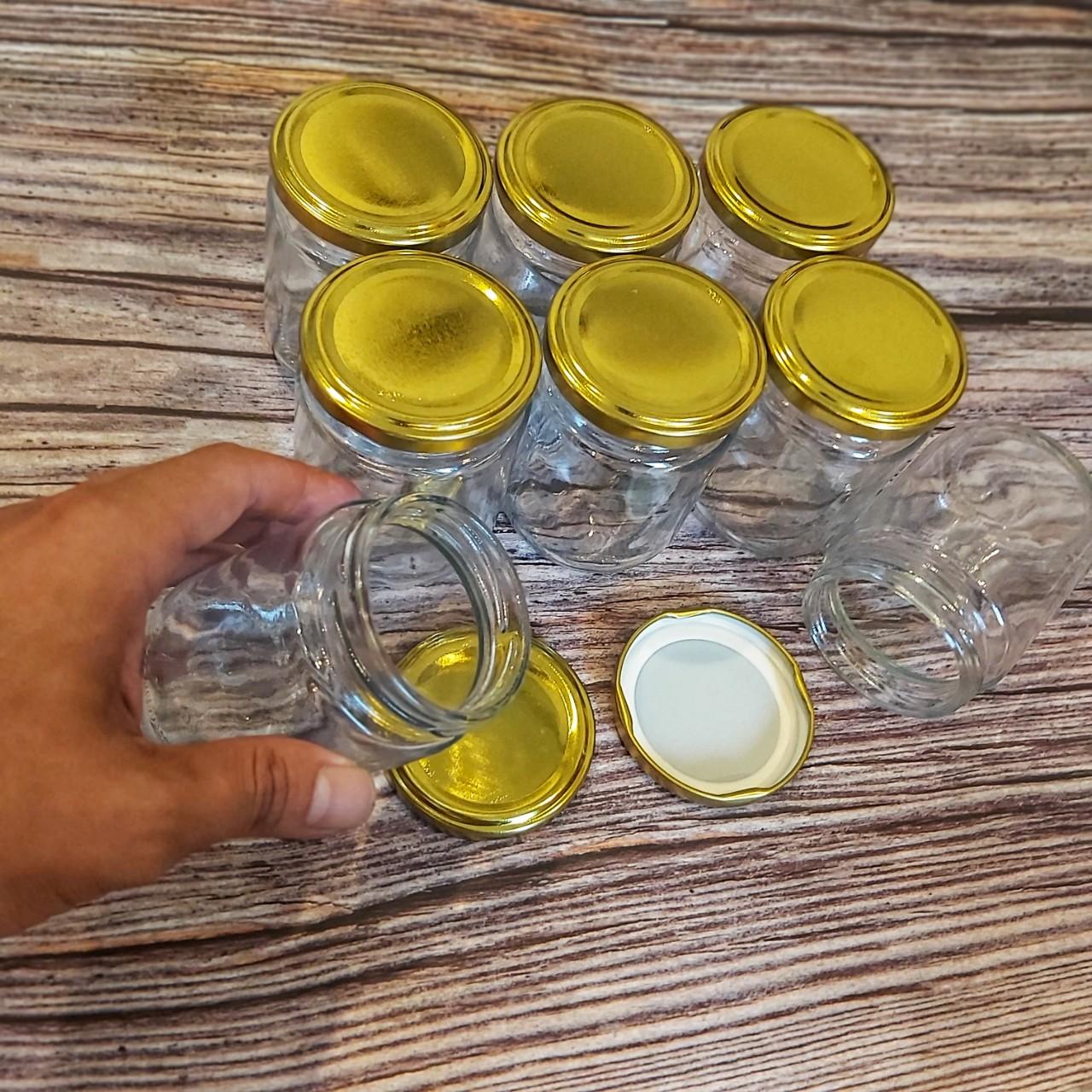 Combo 18 Hũ Thủy Tinh Nắp Thiếc Vàng vặn 200ML đựng Yến chưng, dầu dừa, hũ gia vị, thực phẩm