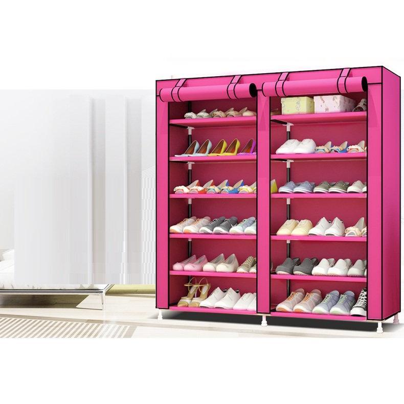 Tủ giày 6 tầng 12 ngăn bằng vải cho gia đình - giao màu ngẫu nhiên