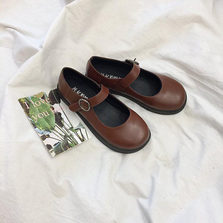 Giày Mary Janes ba màu ( FORM RỘNG LÙI 1 SIZE )