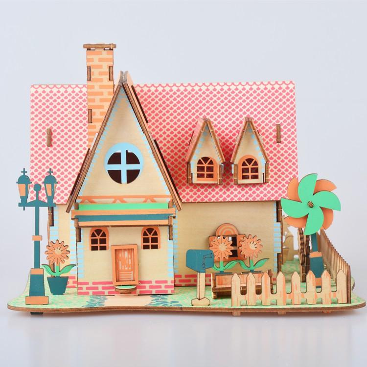 Đồ chơi lắp ráp gỗ 3D Mô hình Nhà Sunflower Manor