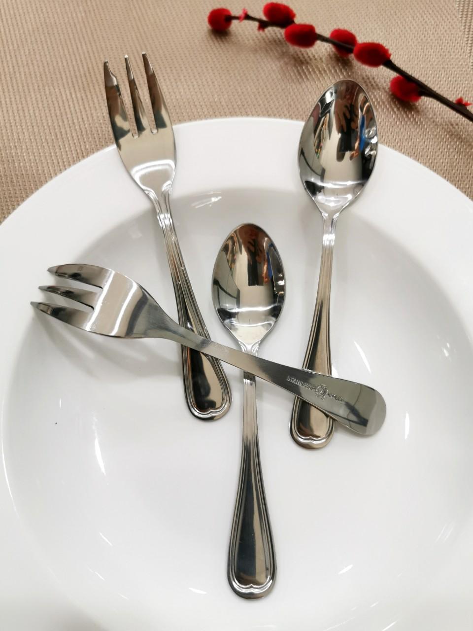 Bộ 2 muỗng 2 nĩa Inox 304 ăn trái cây- bánh ngọt
