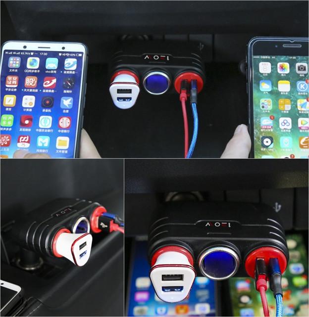 BỘ CHIA TẨU SẠC THÔNG MINH 4IN1 , 2 CỔNG USB VÀ  2 TẨU SẠC (Tặng móc khóa hình bánh lái tàu)