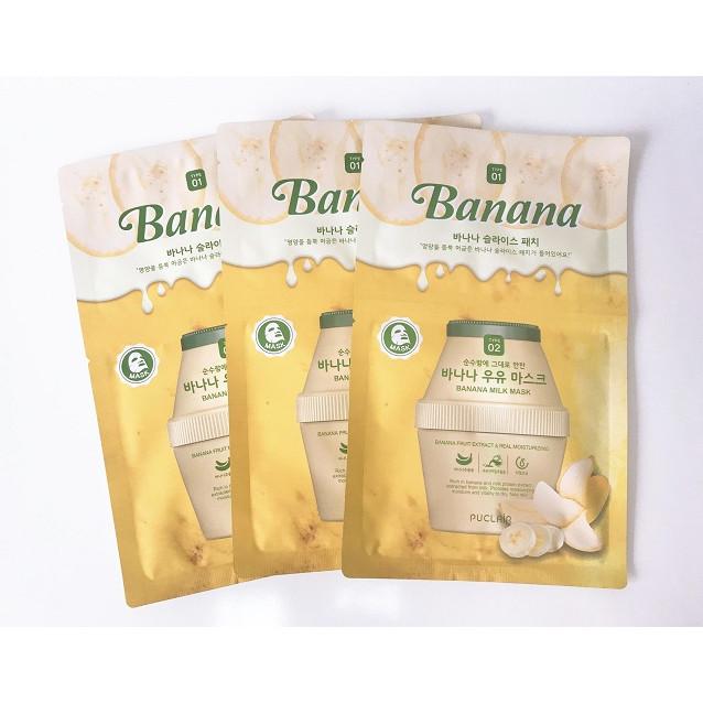 Combo 3 miếng Mặt nạ giấy tinh chất sữa trái cây PUCLAIR MILK MASK (30g)