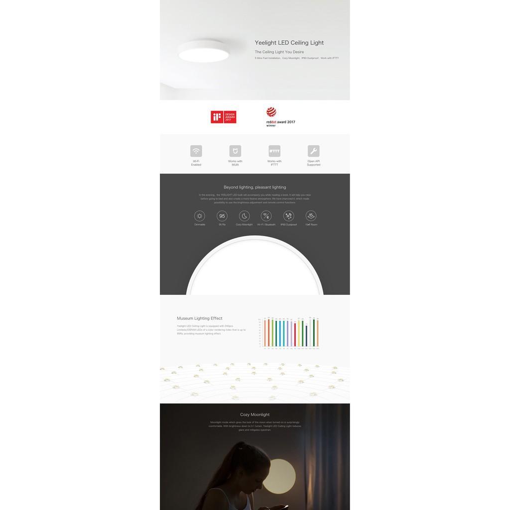 2020 BẢN QUỐC TẾ - ĐÈN LED ỐP TRẦN THÔNG MINH XIAOMI YEELIGHT LED PRO 320mm  - APPLE HOMEKIT - HÀNG CHÍNH HÃNG - Đèn trần Hãng Yeelight