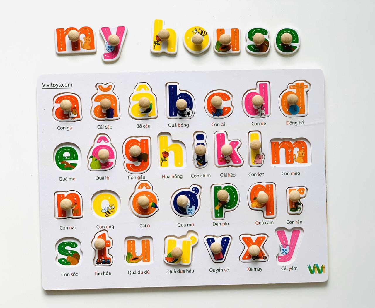 Đồ chơi trí tuệ- Đồ chơi thông minh cho bé bằng gỗ- combo bảng núm gỗ chữ và số MK00115