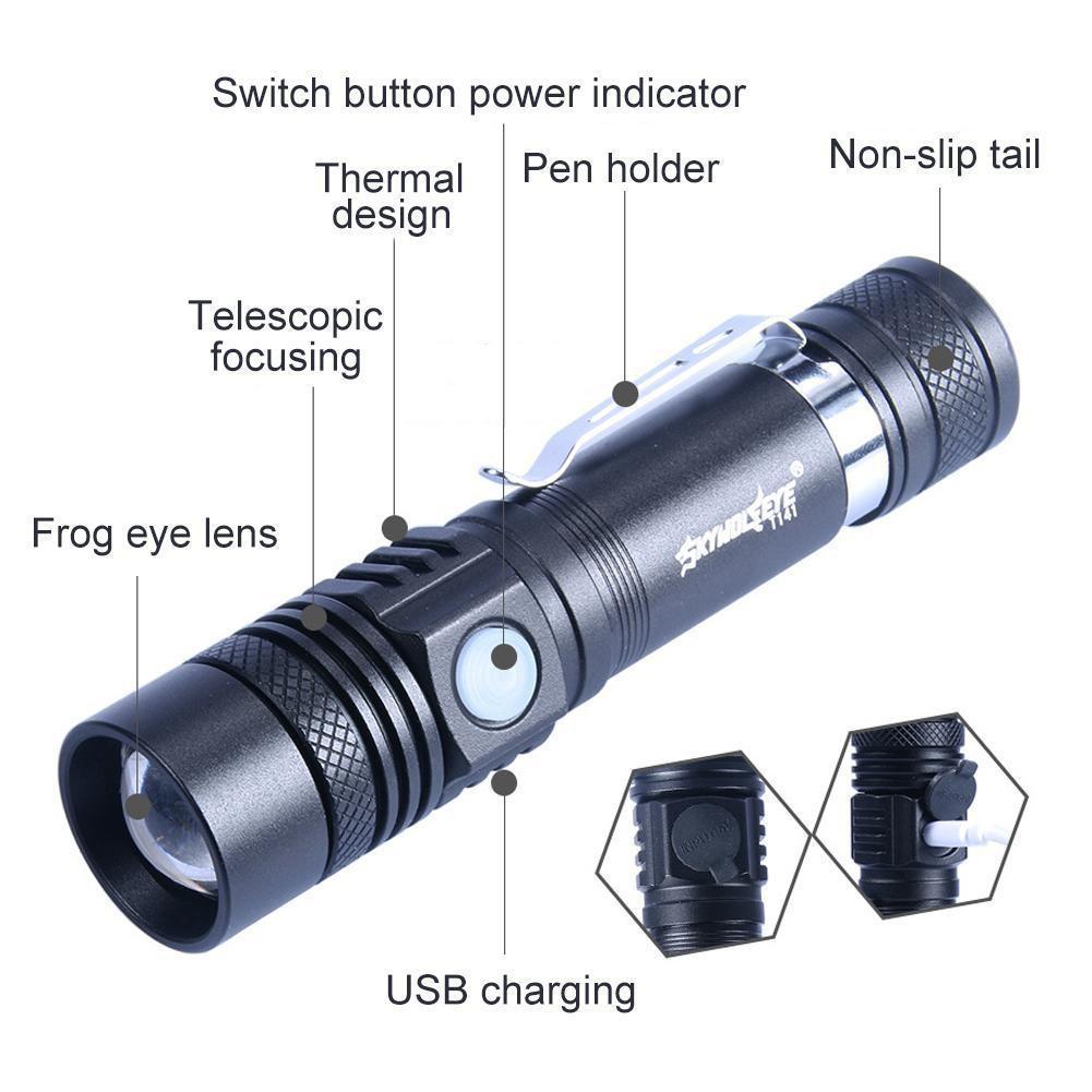 Đèn pin cầm tay với cáp USB + pin 18650