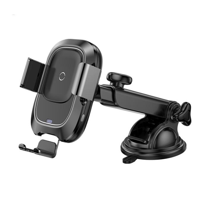 Giá đỡ điện thoại có đế hít chắc chắn gắn taplo kiêm sạc không dây trên ô tô, xe hơi Baseus cao cấp WXZN-B01, Tính năng khóa, mở tự động, Tự động điều chỉnh kích thước, Dòng ra 5V/2A, 9V/1.67A giúp sạc nhanh hơn