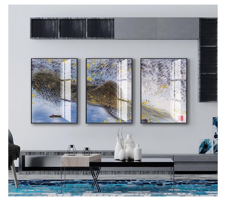 Tranh phong thuỷ Mica 3 bức Người lái đò Sông Hương và giấc mơ trừu tượng (Thiên Hà Thủy). Model: AZ3-0092. Khung nhôm hoặc Composite. Hình ảnh sắc nét, sang trọng, phù hợp nhiều không trang trí