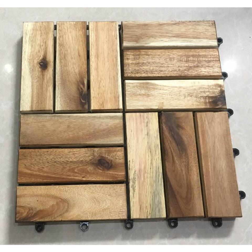 10 tấm ván lót sàn gỗ vỉ nhựa 12 nan - màu gỗ tự nhiên