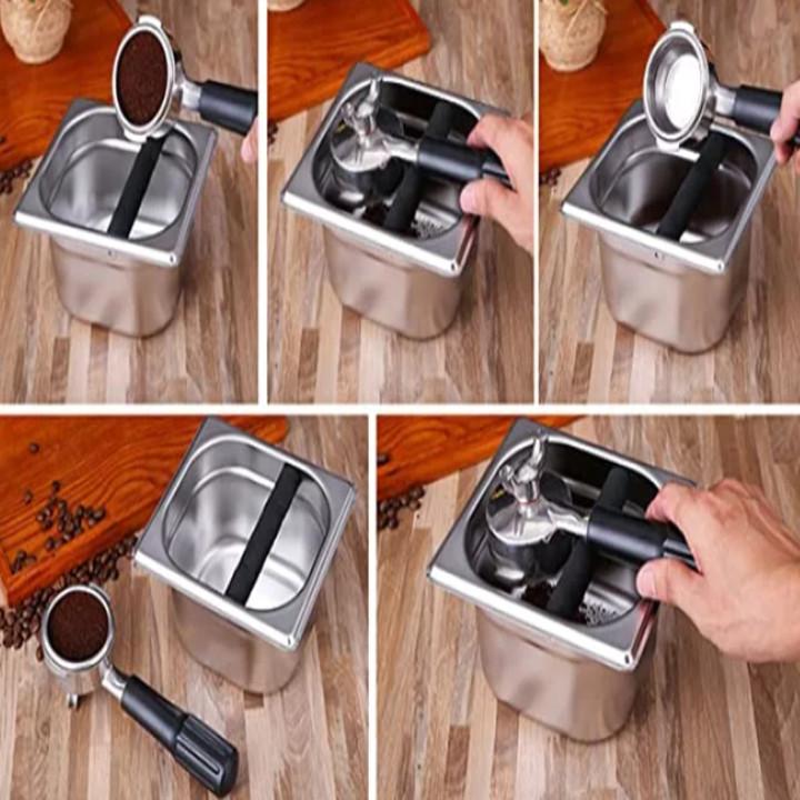 Hộp đập bã cà phê chất liệu inox KBS01 - Kích thước: 15.2x17.5cm