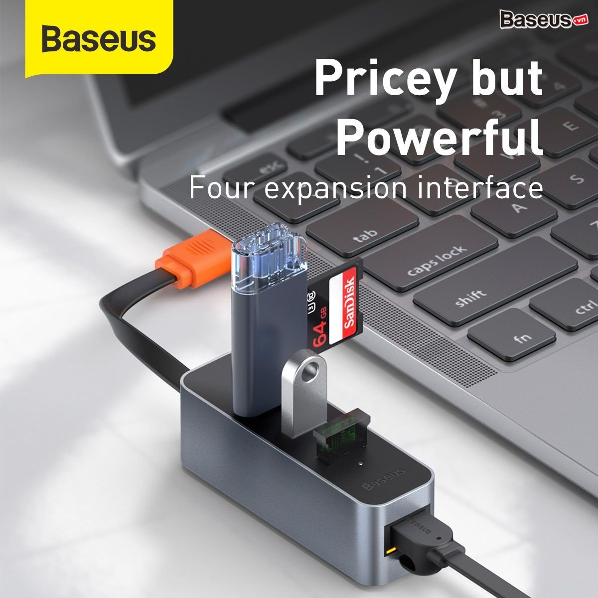 Hub Chuyển Đổi Steel Cannon Series USB A Gigabit LAN Adapter Từ USB / Type-C Sang RJ45 Cho Macbook Pro--Hàng Chính Hãng