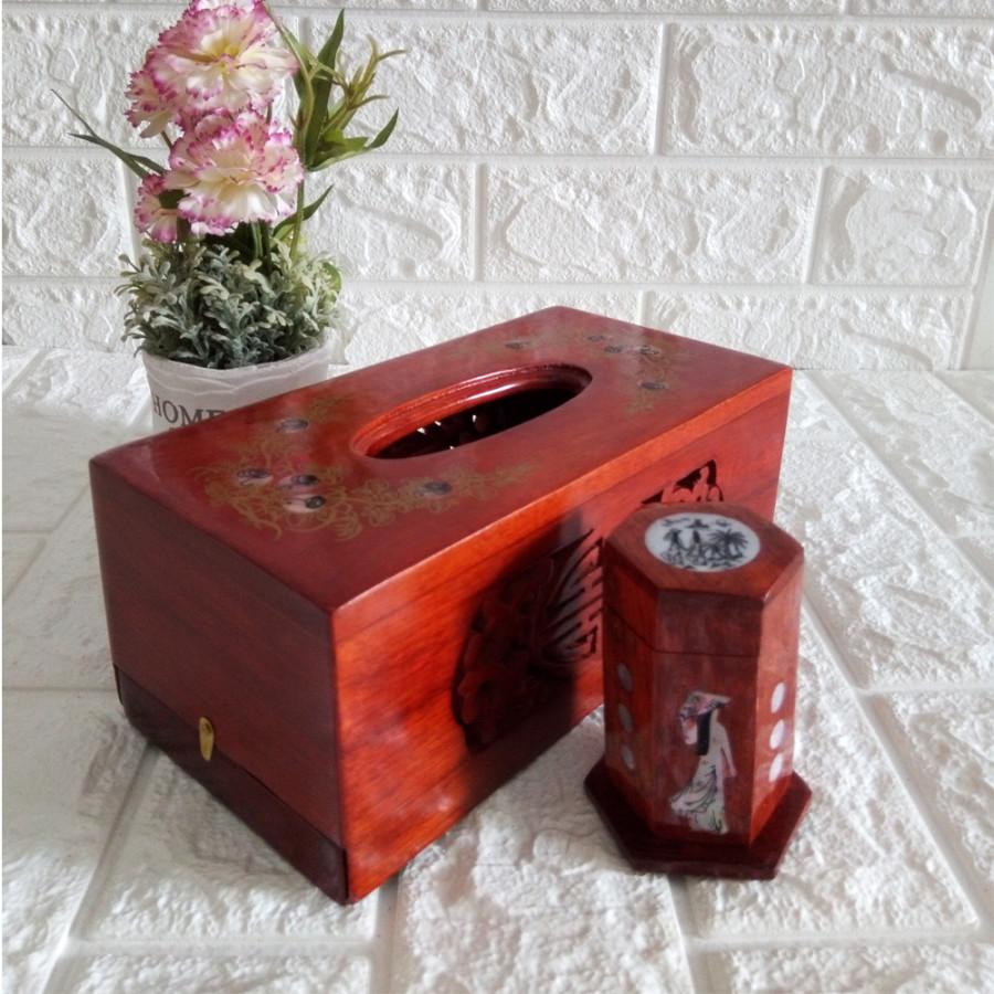 Hộp khăn giấy ăn kèm ống tăm gỗ hương cao cấp hoa văn chữ nhật CHGCN01