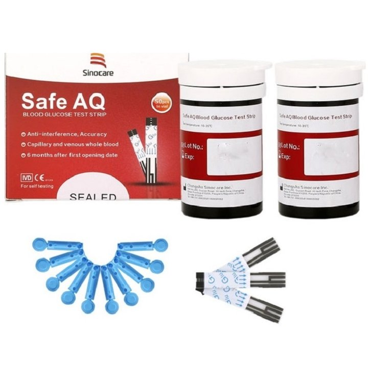 Que Thử Đường Huyết  Sinocare Safe AQ 50 Que + 50 Kim Chích Máu