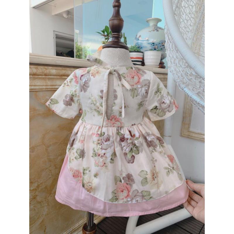 Đầm bé gái Hàng thiết kế - Chất liệu thô lụa siêu mềm mát và an toàn cho bé - TẶNG KÈM TURBAN