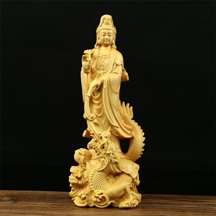 Tượng gỗ Quan Âm Nam Hải  Cao 17x6,5x6cm  - Gỗ Hoàng Dương
