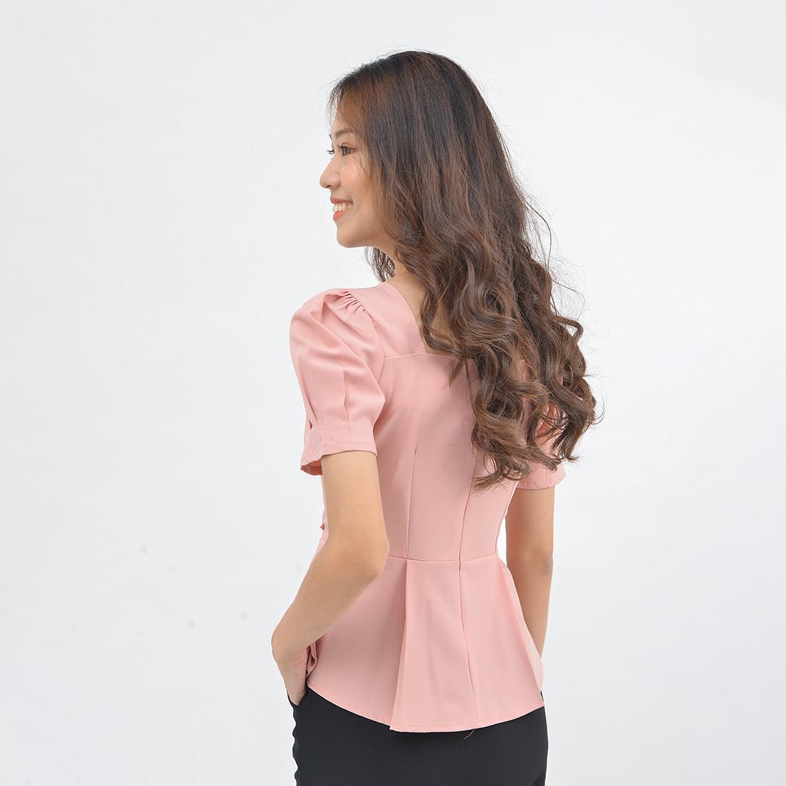 Áo kiểu peplum nữ thời trang Eden cổ vuông tôn dáng. Chất liệu mềm mại, đường may tỉ mỉ, chắc chắn - ASM137