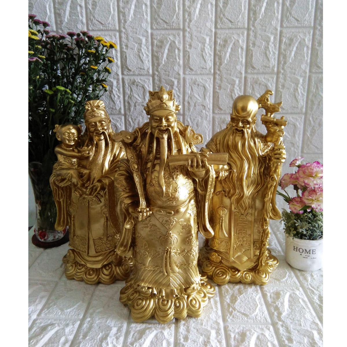 Bộ tượng đá Phúc Lộc Thọ màu đồng sáng cỡ đại - TDDS37