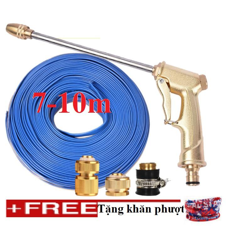 Bộ dây vòi xịt nước rửa xe, tưới cây đa năng, tăng áp 3 lần, loại 7m, 10m 206701-3 đầu đồng, cút đồng, + tặng khăn phượt
