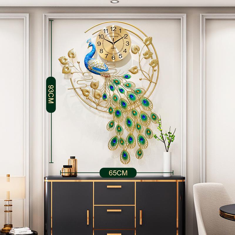 Bộ đồng hồ treo tường hình chim công phong cách sang trọng,treo trong phòng khách,phòng ngủ,thích hợp làm quà tân gia, quà tặng đồng nghiệp