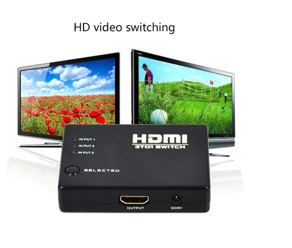 Bộ gộp HDMI 3 cổng vào 1 cổng ra vỏ xanh AZONE