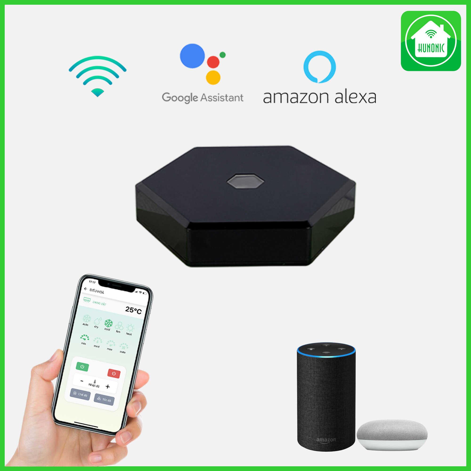 Bộ điều khiển hồng ngoại thiết bị tivi, điều hoà, dàn âm thanh, đầu KTS, quạt… từ xa qua điện thoại- Hỗ Trợ Google Assistant   Hunonic IR Smart-