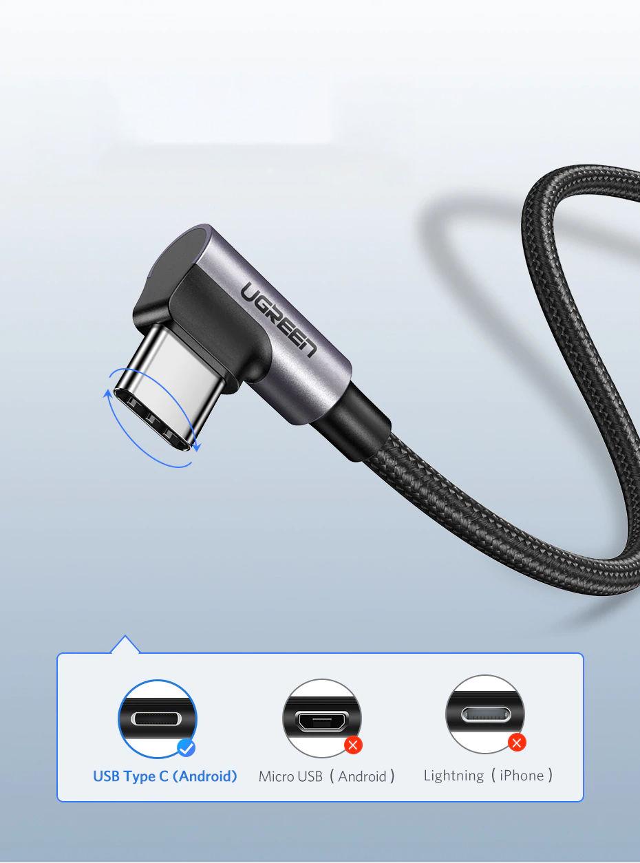 Cáp sạc USB 2.0 sang USB type C đầu vuông góc 90 độ UGREEN US284 50941 (1m) - Hàng Chính Hãng