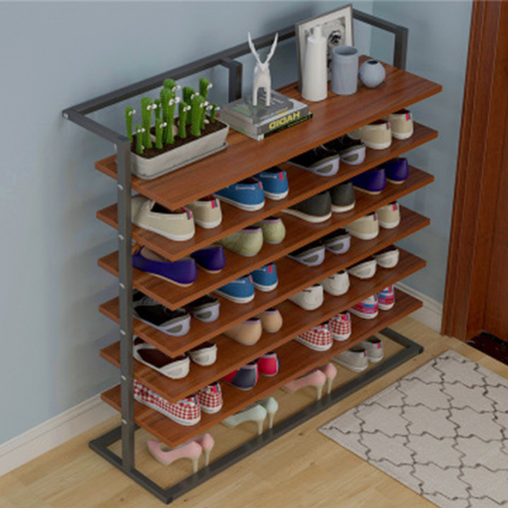 Giá để giày dép 6 tầng đa năng - Tủ kệ giày bằng gỗ khung sắt bền đẹp